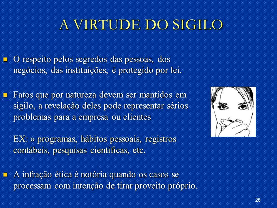 28 A VIRTUDE DO SIGILO O respeito pelos segredos das pessoas, dos negócios, das instituições, é protegido por lei.