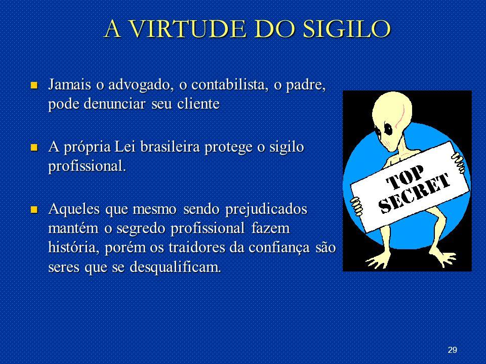 29 A VIRTUDE DO SIGILO Jamais o advogado, o contabilista, o padre, pode denunciar seu cliente Jamais o advogado, o contabilista, o padre, pode denunciar seu cliente A própria Lei brasileira protege o sigilo profissional.