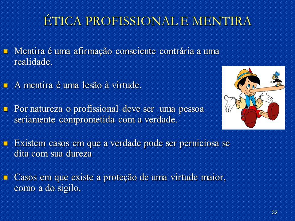 32 ÉTICA PROFISSIONAL E MENTIRA Mentira é uma afirmação consciente contrária a uma realidade.
