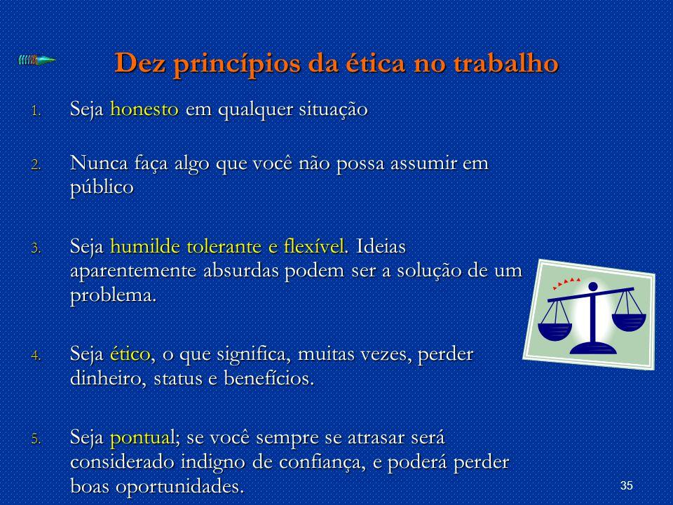 35 Dez princípios da ética no trabalho 1.Seja honesto em qualquer situação 2.