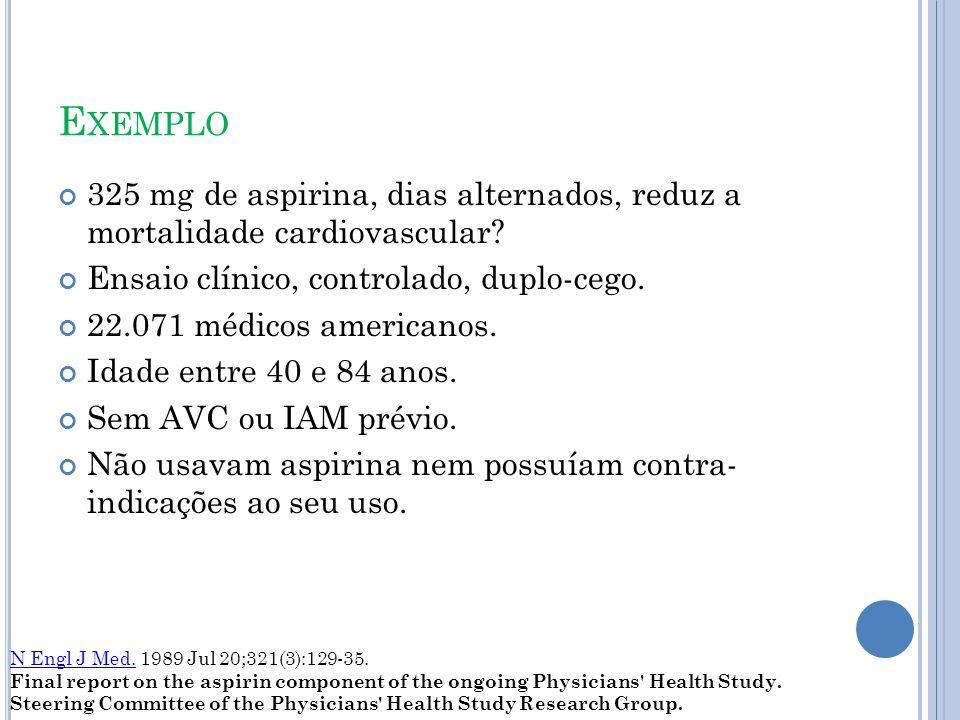 E XEMPLO 325 mg de aspirina, dias alternados, reduz a mortalidade cardiovascular.
