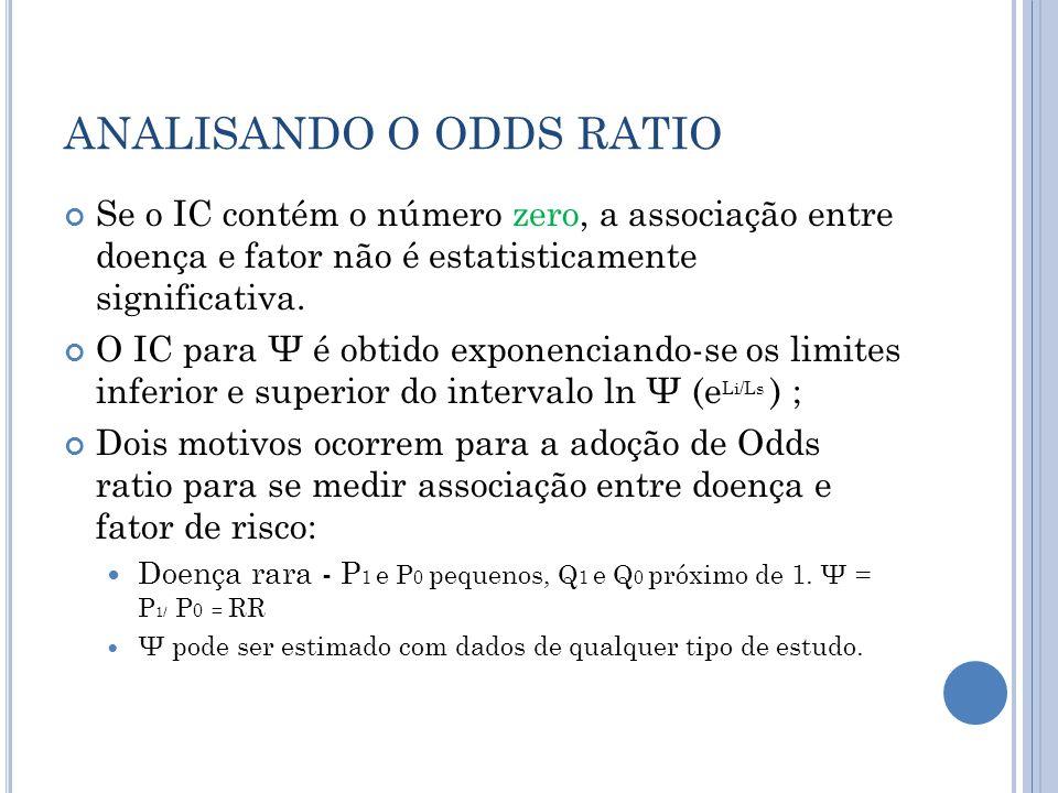 ANALISANDO O ODDS RATIO Se o IC contém o número zero, a associação entre doença e fator não é estatisticamente significativa.