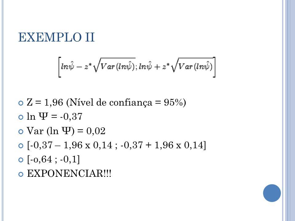 EXEMPLO II Z = 1,96 (Nível de confiança = 95%) ln Ψ = -0,37 Var (ln Ψ) = 0,02 [-0,37 – 1,96 x 0,14 ; -0,37 + 1,96 x 0,14] [-o,64 ; -0,1] EXPONENCIAR!!!
