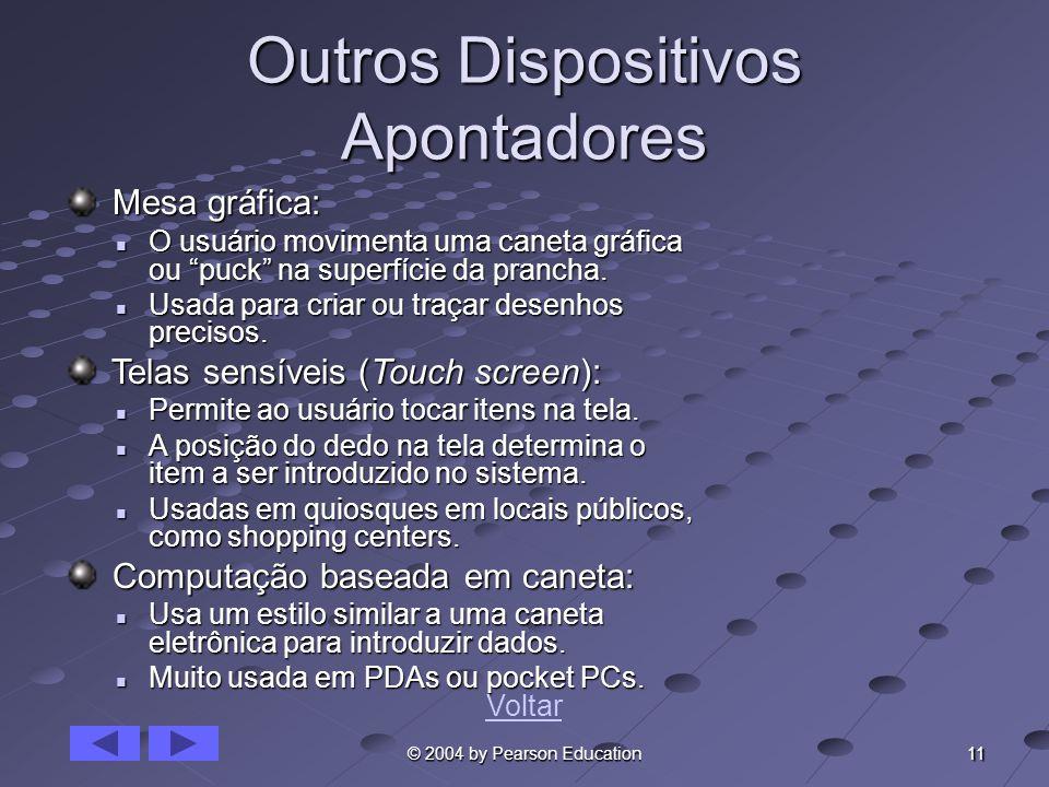 11 © 2004 by Pearson Education Outros Dispositivos Apontadores Mesa gráfica: Mesa gráfica: O usuário movimenta uma caneta gráfica ou puck na superfíci