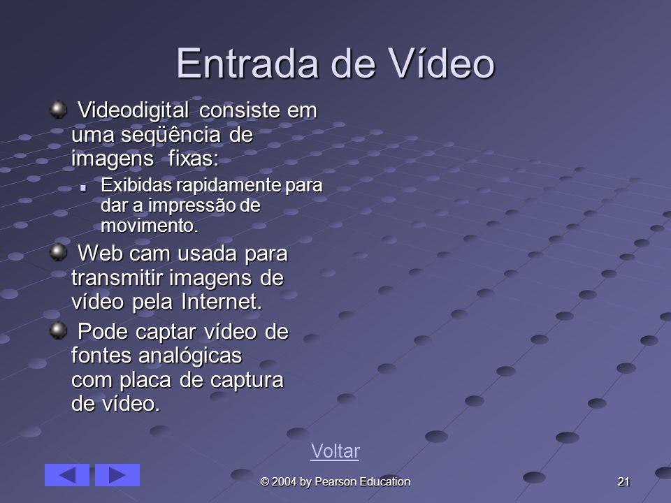 21 © 2004 by Pearson Education Entrada de Vídeo Videodigital consiste em uma seqüência de imagens fixas: Videodigital consiste em uma seqüência de ima