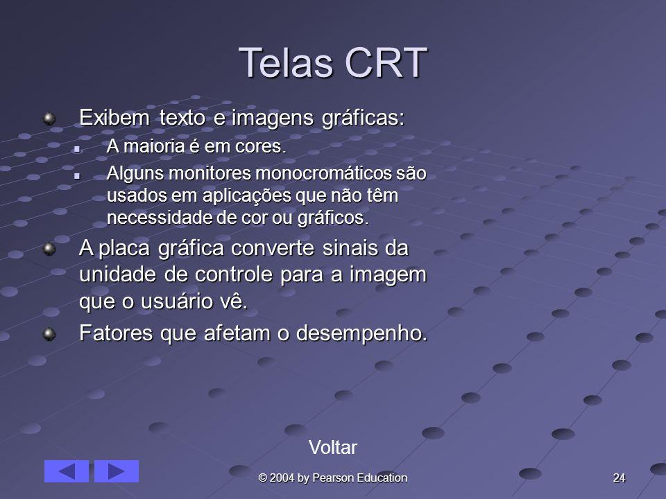 24 © 2004 by Pearson Education Telas CRT Exibem texto e imagens gráficas: A maioria é em cores. A maioria é em cores. Alguns monitores monocromáticos