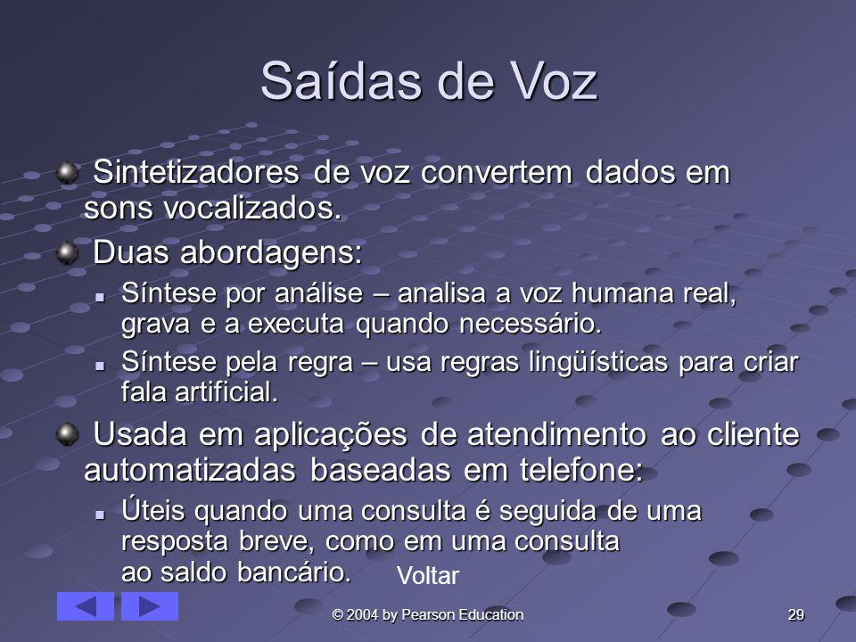 29 © 2004 by Pearson Education Saídas de Voz Sintetizadores de voz convertem dados em sons vocalizados. Sintetizadores de voz convertem dados em sons