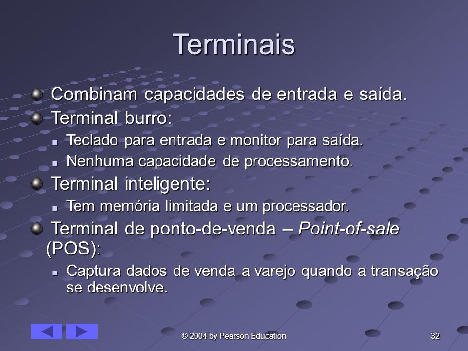 32 © 2004 by Pearson Education Terminais Combinam capacidades de entrada e saída. Combinam capacidades de entrada e saída. Terminal burro: Terminal bu