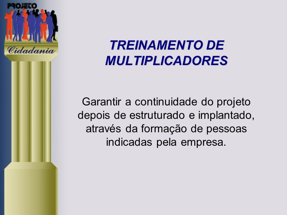 TREINAMENTO DE MULTIPLICADORES TREINAMENTO DE MULTIPLICADORES Garantir a continuidade do projeto depois de estruturado e implantado, através da formação de pessoas indicadas pela empresa.
