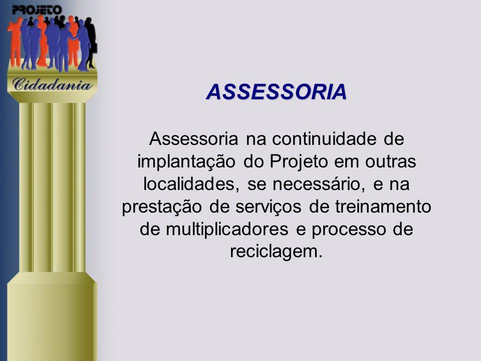 ASSESSORIA ASSESSORIA Assessoria na continuidade de implantação do Projeto em outras localidades, se necessário, e na prestação de serviços de treinamento de multiplicadores e processo de reciclagem.