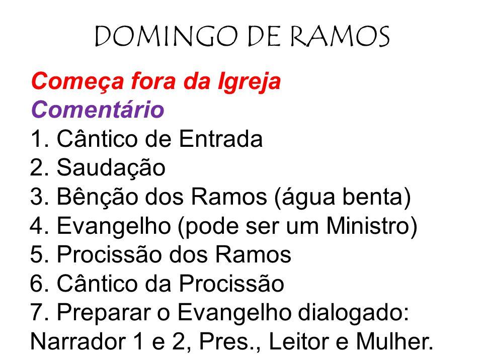 DOMINGO DE RAMOS Começa fora da Igreja Comentário 1. Cântico de Entrada 2. Saudação 3. Bênção dos Ramos (água benta) 4. Evangelho (pode ser um Ministr