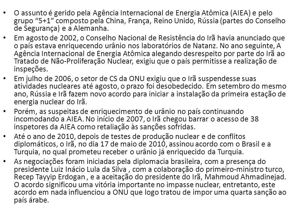O assunto é gerido pela Agência Internacional de Energia Atômica (AIEA) e pelo grupo 5+1 composto pela China, França, Reino Unido, Rússia (partes do Conselho de Segurança) e a Alemanha.