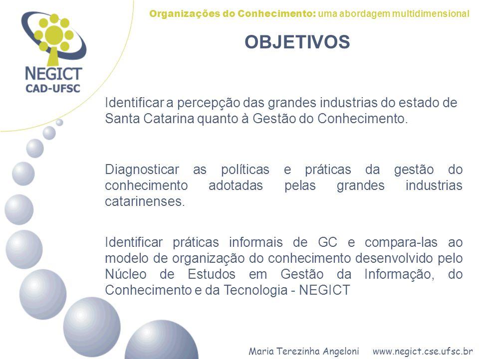 Maria Terezinha Angeloni www.negict.cse.ufsc.br Organizações do Conhecimento: uma abordagem multidimensional OBJETIVOS Diagnosticar as políticas e prá