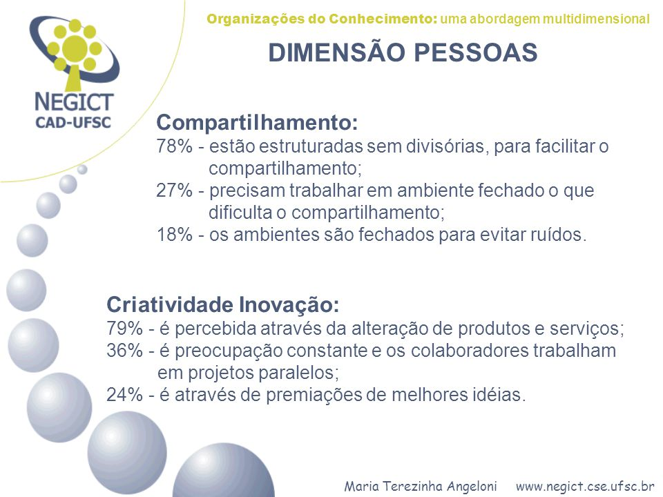 Maria Terezinha Angeloni www.negict.cse.ufsc.br Organizações do Conhecimento: uma abordagem multidimensional Compartilhamento: 78% - estão estruturada