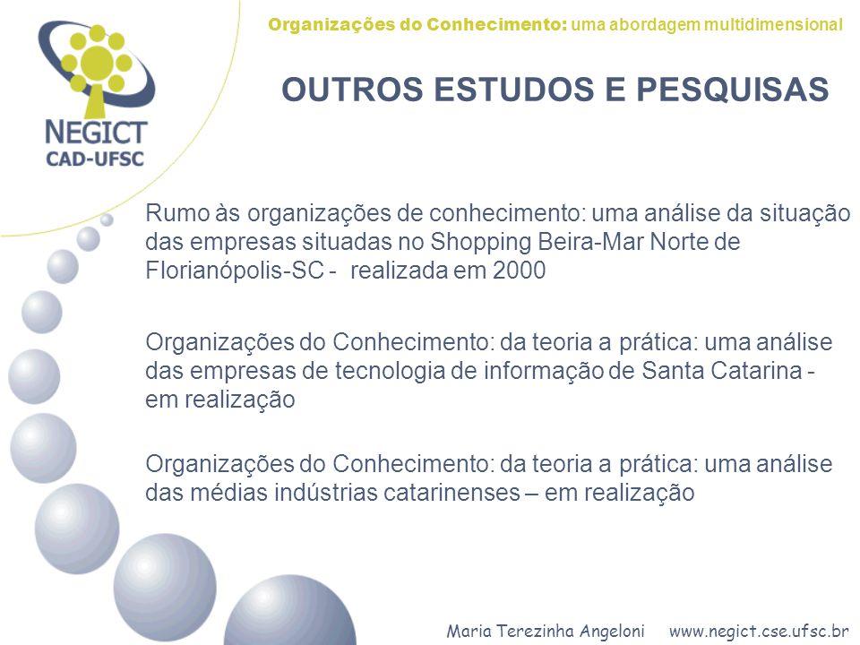 Maria Terezinha Angeloni www.negict.cse.ufsc.br Organizações do Conhecimento: uma abordagem multidimensional OUTROS ESTUDOS E PESQUISAS Rumo às organi