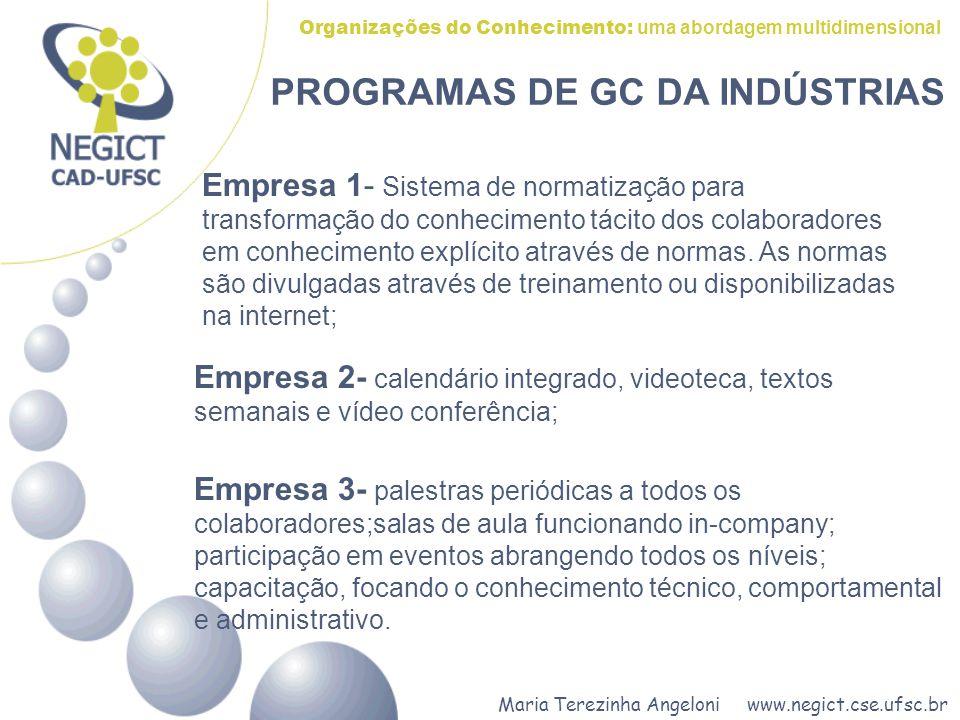 Maria Terezinha Angeloni www.negict.cse.ufsc.br Organizações do Conhecimento: uma abordagem multidimensional PROGRAMAS DE GC DA INDÚSTRIAS Empresa 1-