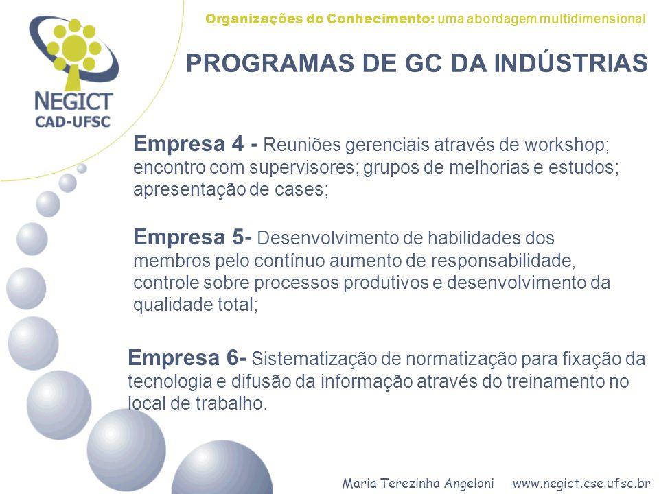 Maria Terezinha Angeloni www.negict.cse.ufsc.br Organizações do Conhecimento: uma abordagem multidimensional PROGRAMAS DE GC DA INDÚSTRIAS Empresa 4 -