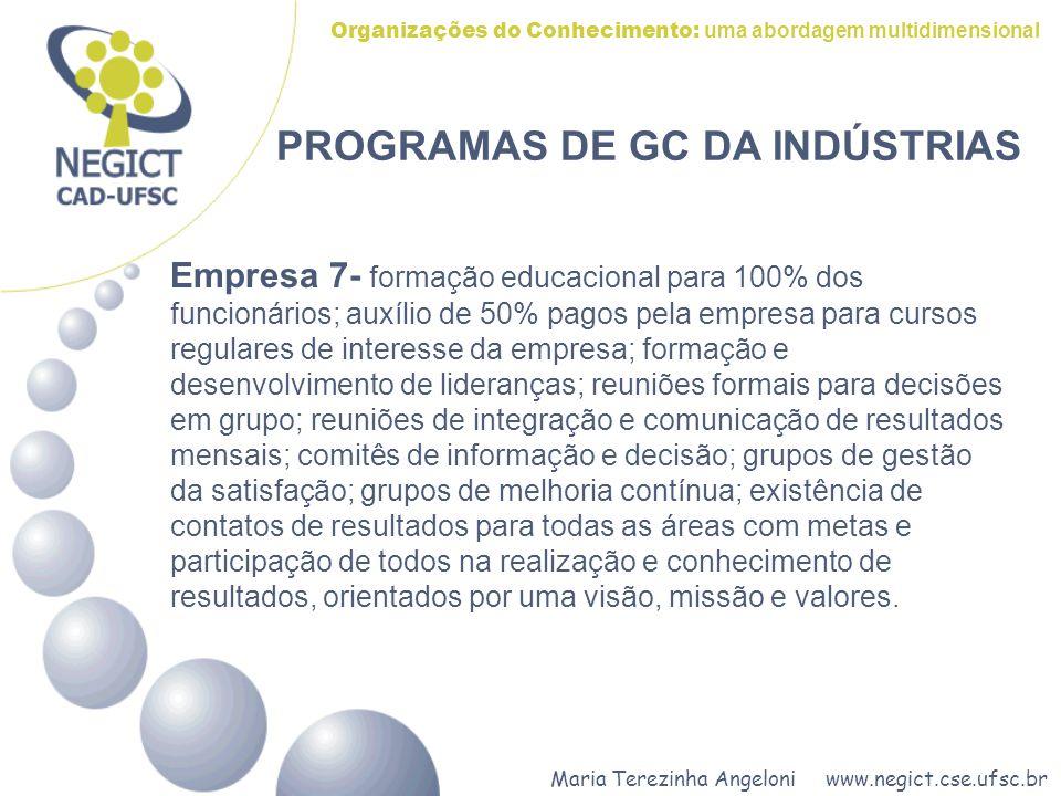Maria Terezinha Angeloni www.negict.cse.ufsc.br Organizações do Conhecimento: uma abordagem multidimensional PROGRAMAS DE GC DA INDÚSTRIAS Empresa 7-