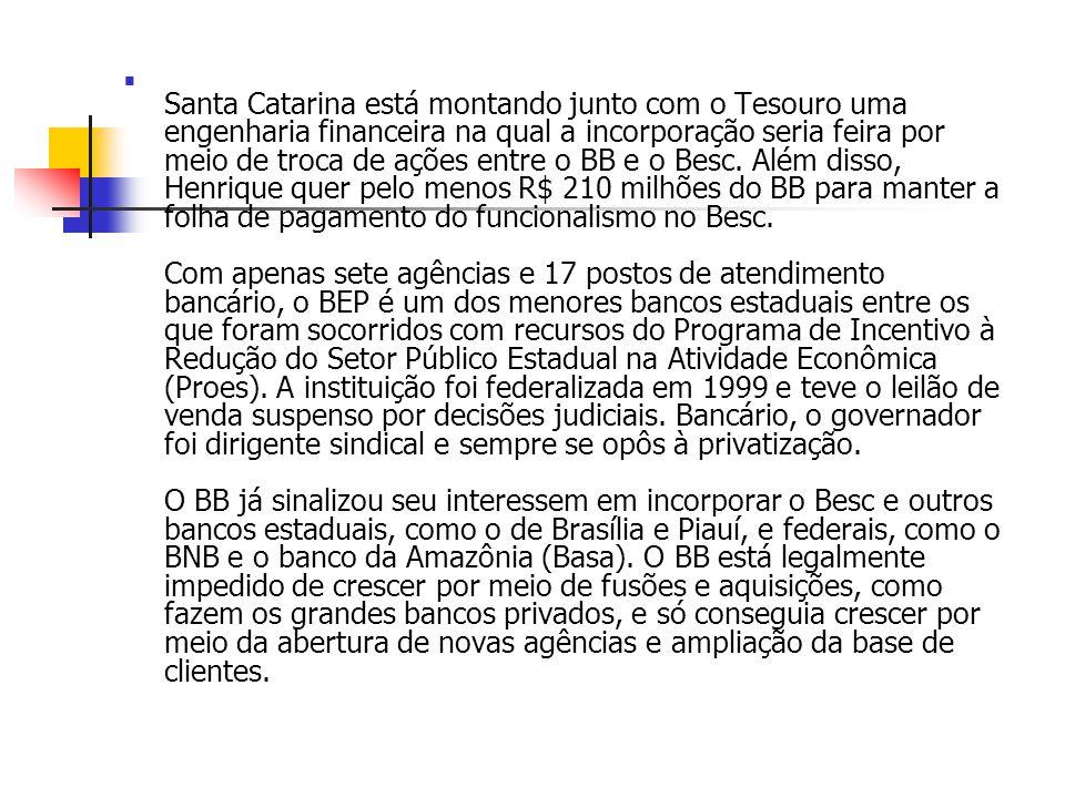 Santa Catarina está montando junto com o Tesouro uma engenharia financeira na qual a incorporação seria feira por meio de troca de ações entre o BB e