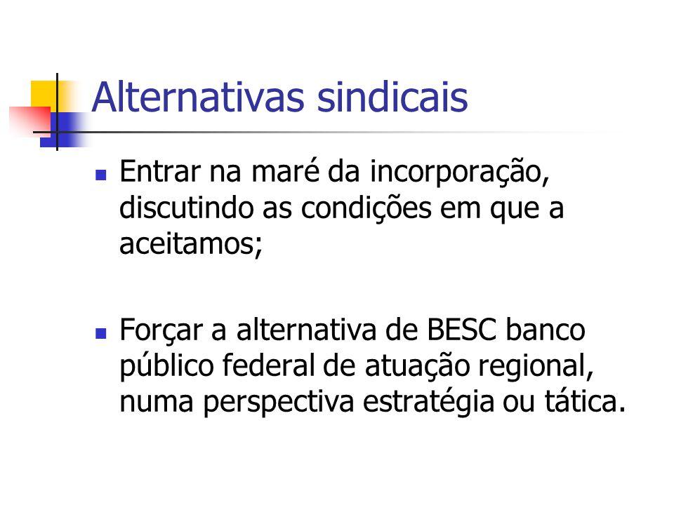 Alternativas sindicais Entrar na maré da incorporação, discutindo as condições em que a aceitamos; Forçar a alternativa de BESC banco público federal