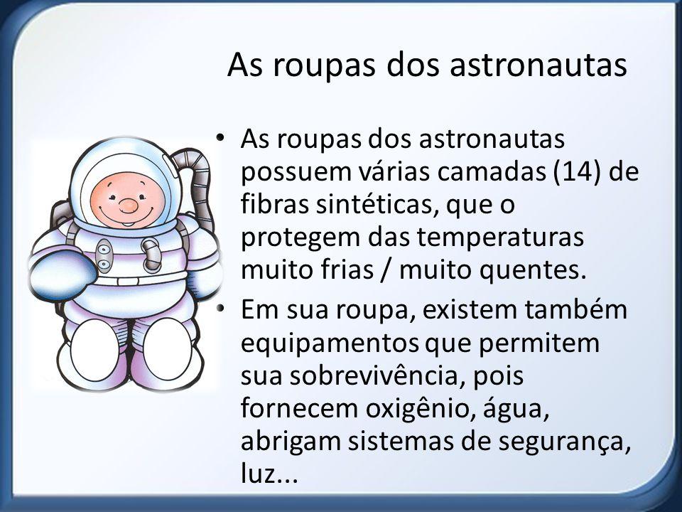 As roupas dos astronautas As roupas dos astronautas possuem várias camadas (14) de fibras sintéticas, que o protegem das temperaturas muito frias / mu