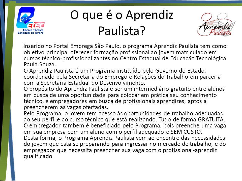 O que é o Aprendiz Paulista? Inserido no Portal Emprega São Paulo, o programa Aprendiz Paulista tem como objetivo principal oferecer formação profissi