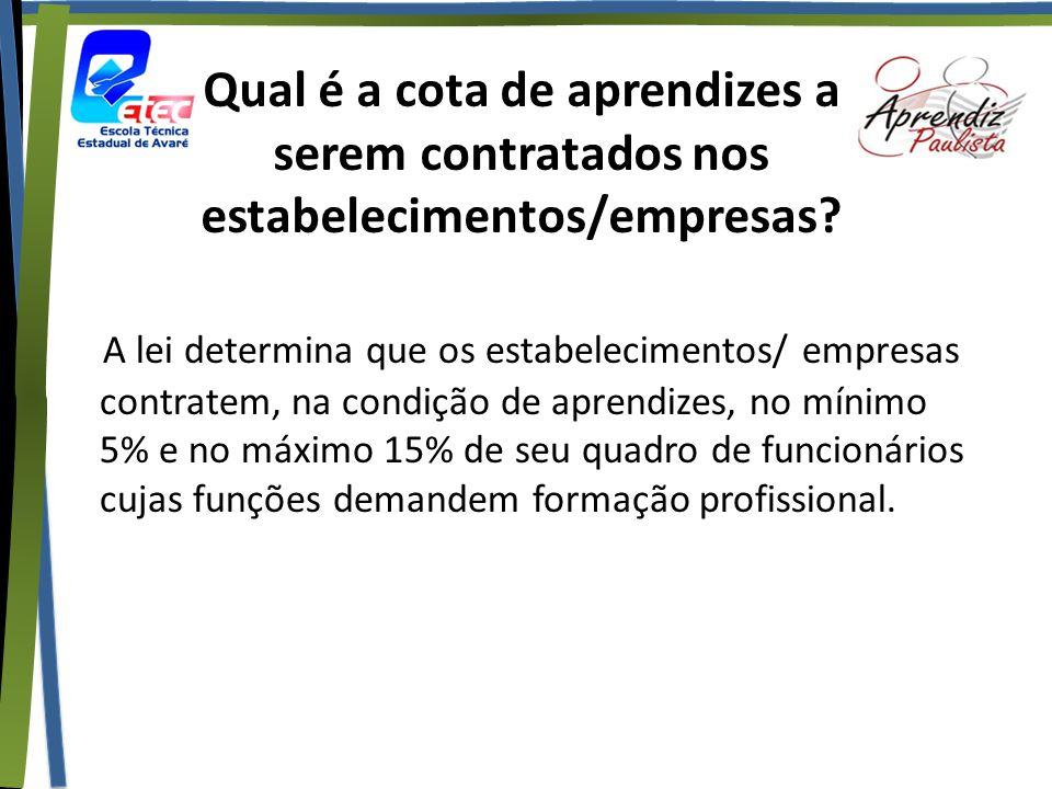 Qual é a cota de aprendizes a serem contratados nos estabelecimentos/empresas? A lei determina que os estabelecimentos/ empresas contratem, na condiçã