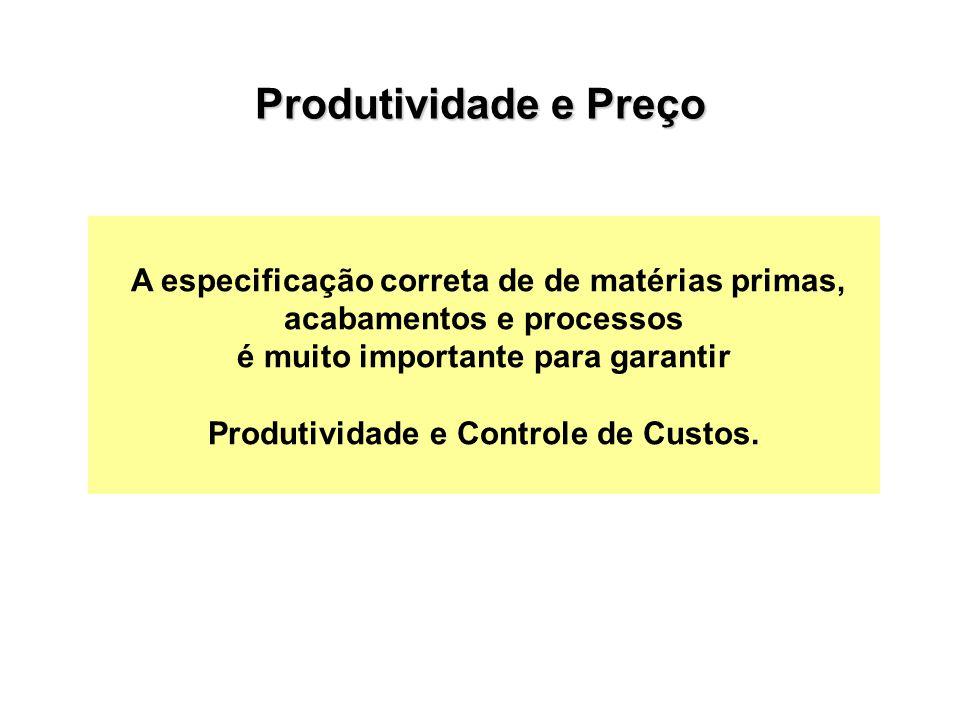 A especificação correta de de matérias primas, acabamentos e processos é muito importante para garantir Produtividade e Controle de Custos.