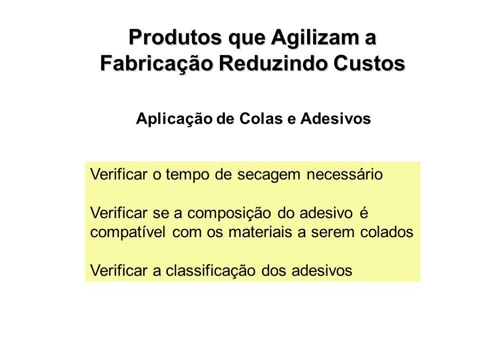 Aplicação de Colas e Adesivos Verificar o tempo de secagem necessário Verificar se a composição do adesivo é compatível com os materiais a serem colados Verificar a classificação dos adesivos