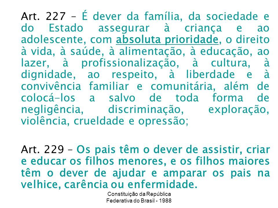 Constituição da República Federativa do Brasil - 1988 Art. 227 – É dever da família, da sociedade e do Estado assegurar à criança e ao adolescente, co