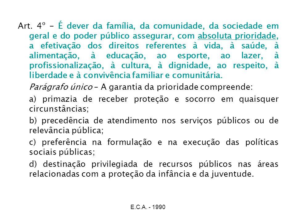 E.C.A. - 1990 Art. 4º - É dever da família, da comunidade, da sociedade em geral e do poder público assegurar, com absoluta prioridade, a efetivação d