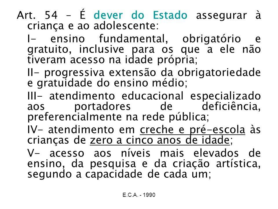 E.C.A. - 1990 Art. 54 – É dever do Estado assegurar à criança e ao adolescente: I- ensino fundamental, obrigatório e gratuito, inclusive para os que a