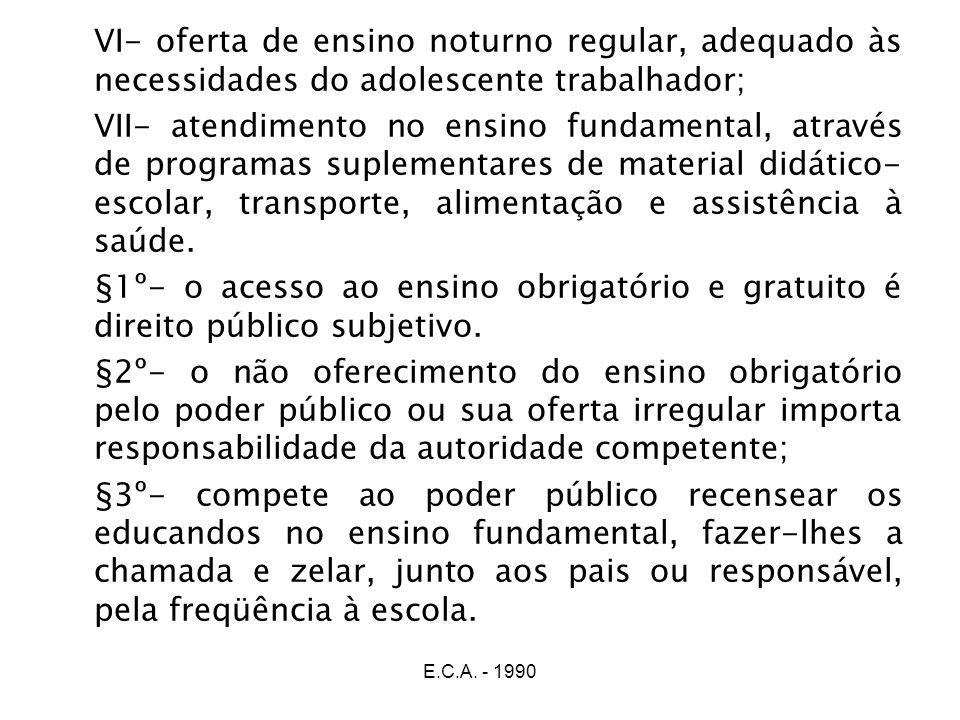 E.C.A. - 1990 VI- oferta de ensino noturno regular, adequado às necessidades do adolescente trabalhador; VII- atendimento no ensino fundamental, atrav