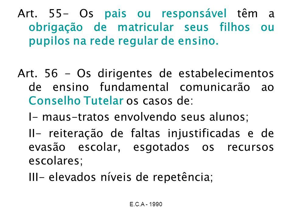 E.C.A - 1990 Art. 55- Os pais ou responsável têm a obrigação de matricular seus filhos ou pupilos na rede regular de ensino. Art. 56 - Os dirigentes d