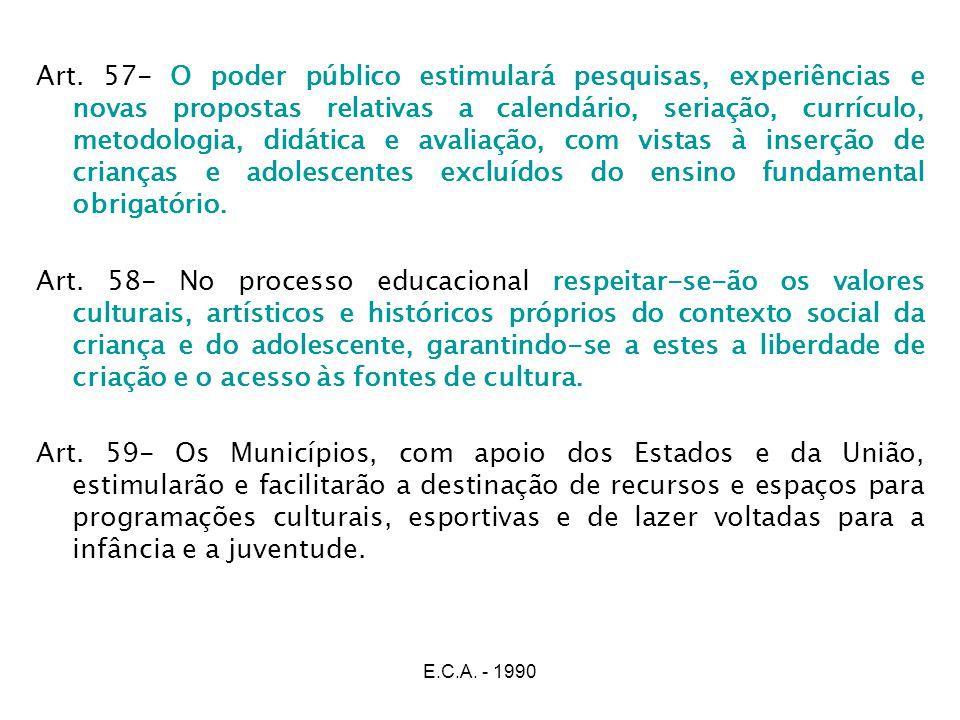 E.C.A. - 1990 Art. 57- O poder público estimulará pesquisas, experiências e novas propostas relativas a calendário, seriação, currículo, metodologia,