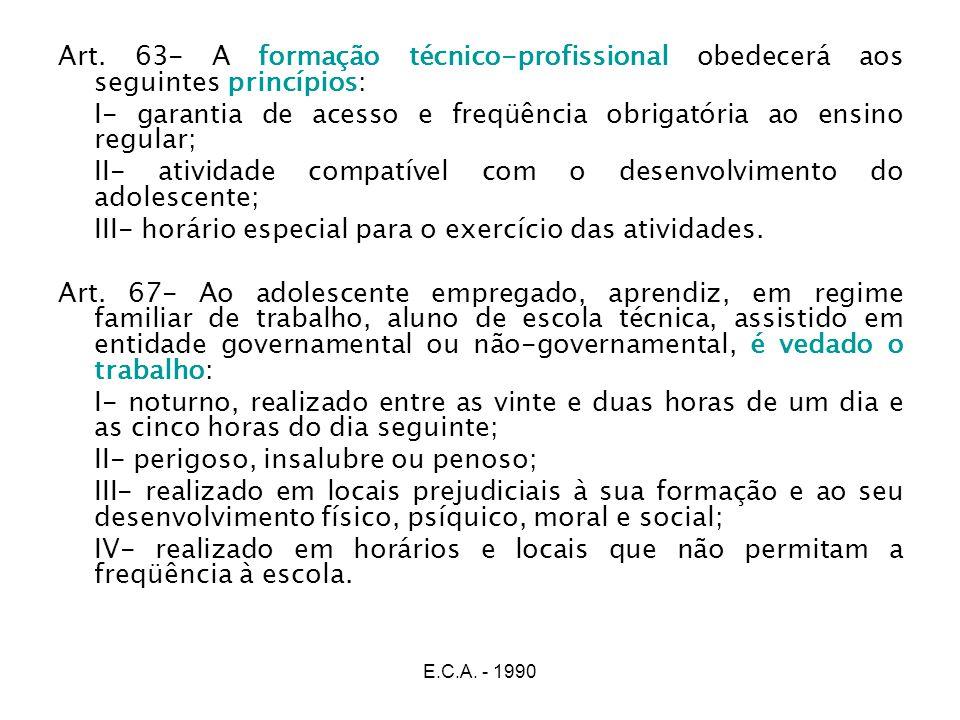 E.C.A. - 1990 Art. 63- A formação técnico-profissional obedecerá aos seguintes princípios: I- garantia de acesso e freqüência obrigatória ao ensino re