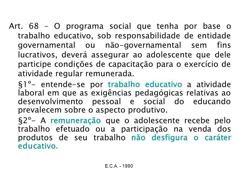 E.C.A. - 1990 Art. 68 – O programa social que tenha por base o trabalho educativo, sob responsabilidade de entidade governamental ou não-governamental