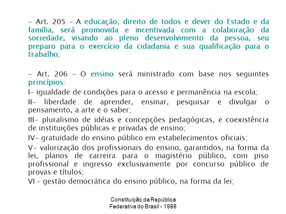 Constituição da República Federativa do Brasil - 1988 - Art. 205 – A educação, direito de todos e dever do Estado e da família, será promovida e incen