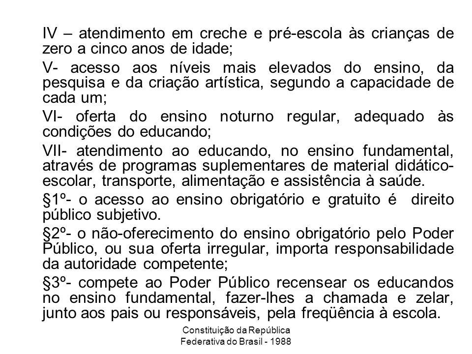 Constituição da República Federativa do Brasil - 1988 IV – atendimento em creche e pré-escola às crianças de zero a cinco anos de idade; V- acesso aos