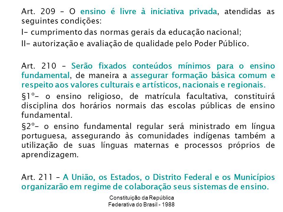 Constituição da República Federativa do Brasil - 1988 Art. 209 – O ensino é livre à iniciativa privada, atendidas as seguintes condições: I- cumprimen