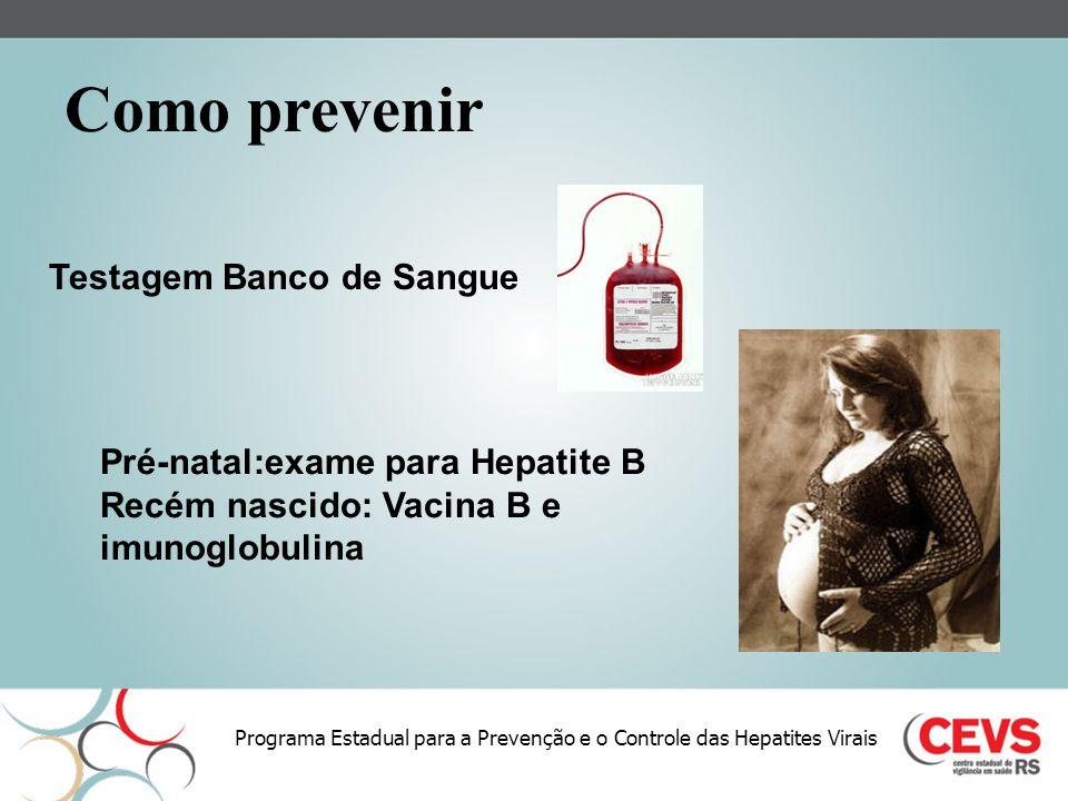Programa Estadual para a Prevenção e o Controle das Hepatites Virais Pré-natal:exame para Hepatite B Recém nascido: Vacina B e imunoglobulina Testagem