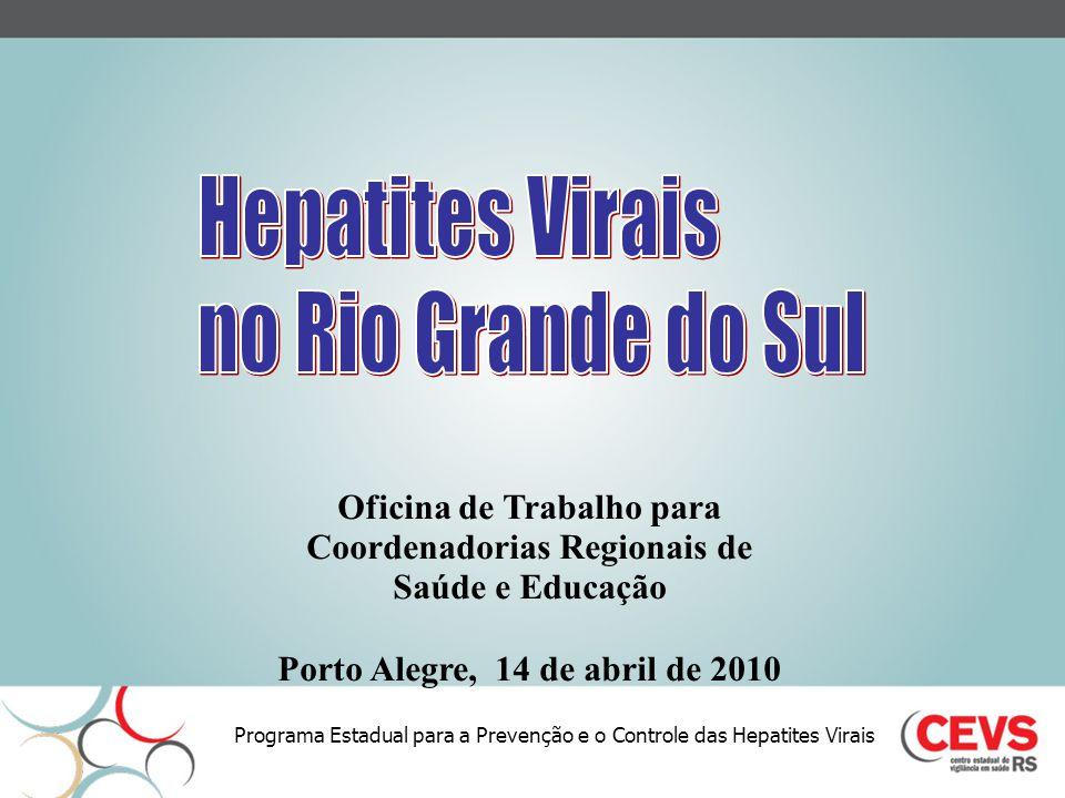 Programa Estadual para a Prevenção e o Controle das Hepatites Virais Oficina de Trabalho para Coordenadorias Regionais de Saúde e Educação Porto Alegr