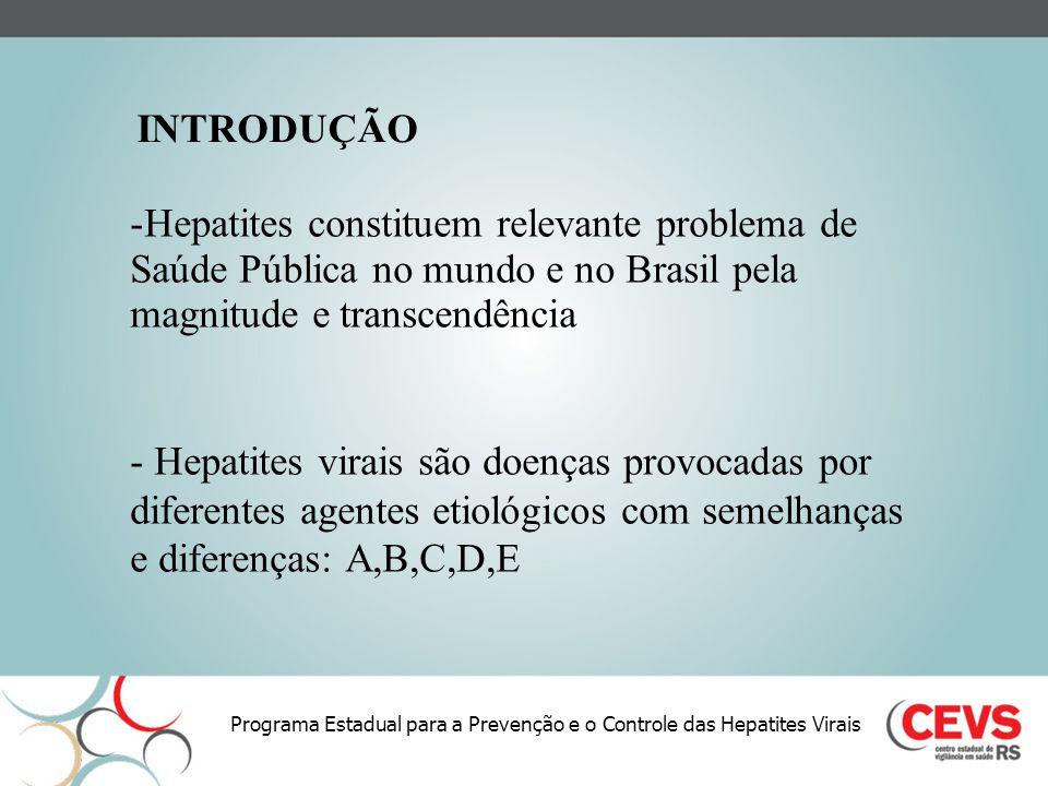 Programa Estadual para a Prevenção e o Controle das Hepatites Virais -Hepatites constituem relevante problema de Saúde Pública no mundo e no Brasil pe