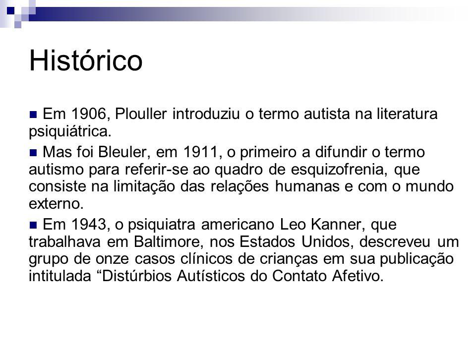 Histórico Em 1906, Plouller introduziu o termo autista na literatura psiquiátrica. Mas foi Bleuler, em 1911, o primeiro a difundir o termo autismo par