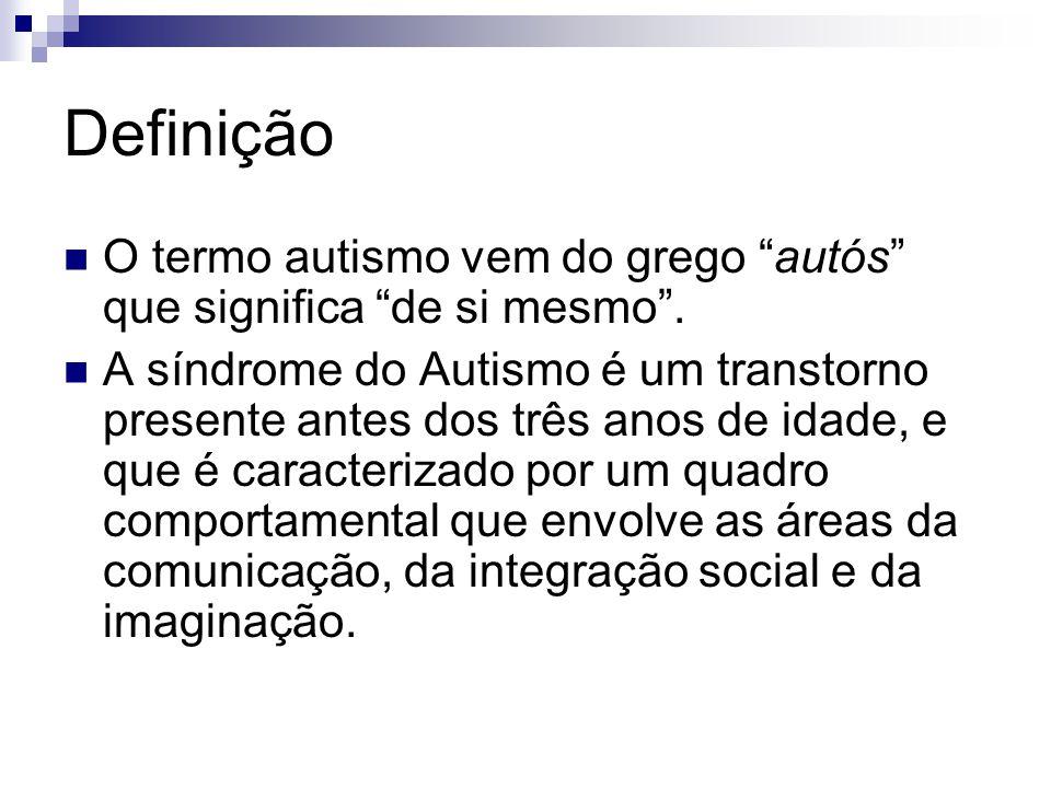 Definição O termo autismo vem do grego autós que significa de si mesmo. A síndrome do Autismo é um transtorno presente antes dos três anos de idade, e