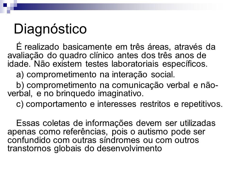 Diagnóstico É realizado basicamente em três áreas, através da avaliação do quadro clínico antes dos três anos de idade. Não existem testes laboratoria