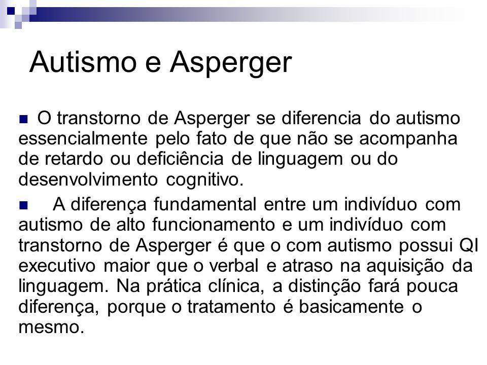 Autismo e Asperger O transtorno de Asperger se diferencia do autismo essencialmente pelo fato de que não se acompanha de retardo ou deficiência de lin