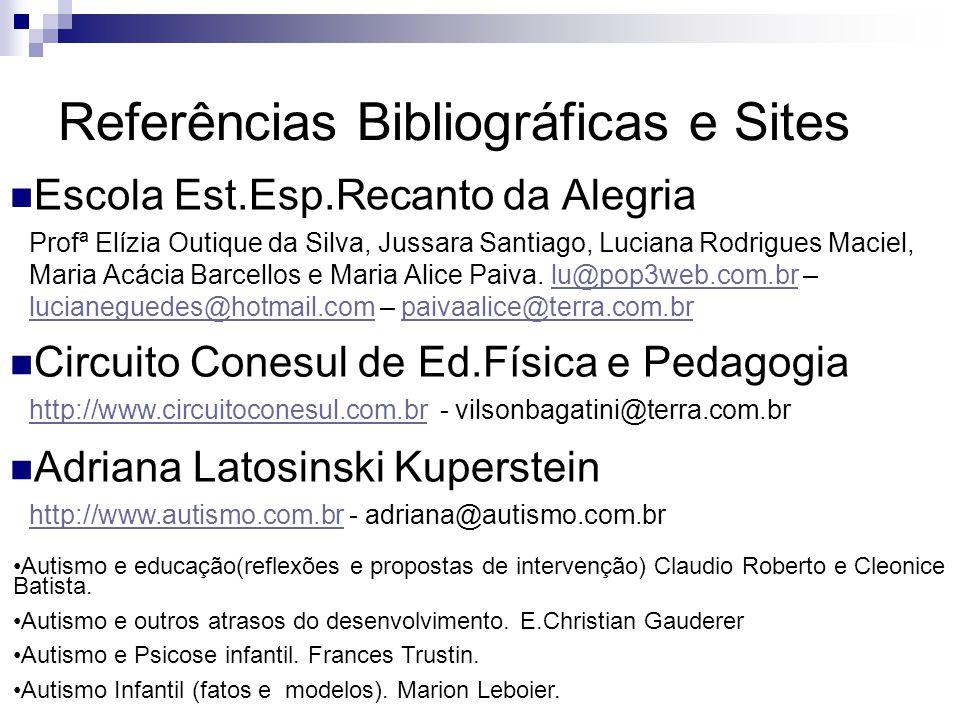 Referências Bibliográficas e Sites Escola Est.Esp.Recanto da Alegria Profª Elízia Outique da Silva, Jussara Santiago, Luciana Rodrigues Maciel, Maria
