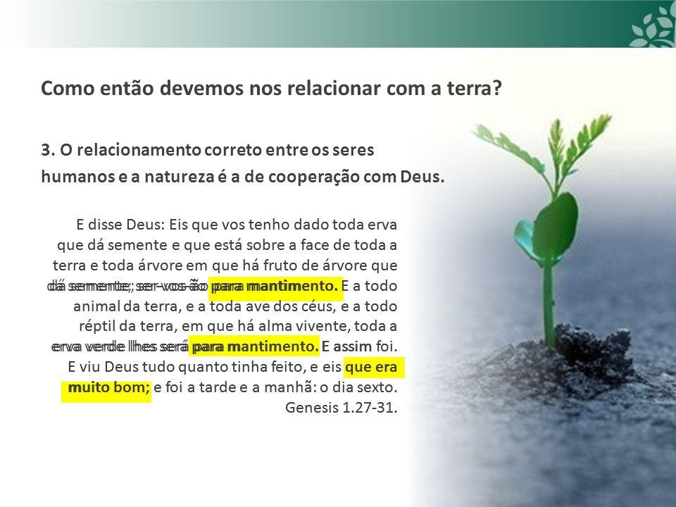 E disse Deus: Eis que vos tenho dado toda erva que dá semente e que está sobre a face de toda a terra e toda árvore em que há fruto de árvore que dá semente; ser-vos-ão para mantimento.