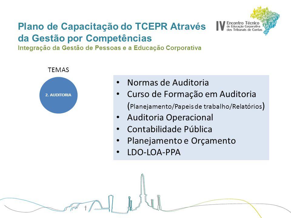 Plano de Capacitação do TCEPR Através da Gestão por Competências Integração da Gestão de Pessoas e a Educação Corporativa TEMAS Normas de Auditoria Cu